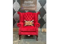 Stunning Chesterfield Queen Anne Wing Back Chair in Red Fabric - Uk Delivery