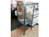 LARGE PARROT CAGE. 56'' HEIGHT INCLUDING LEGS X 21.5'' X 21.5''