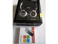 New AKG silver headphones + MP3 Player