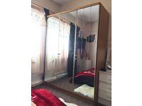 Mirrored 3 door wardrobe, real bargain!