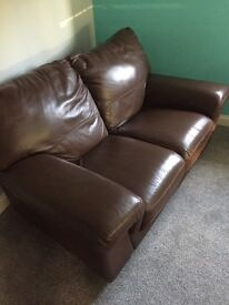 Brown Real Leather 2 Seater Sofa