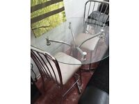 Glass table with two seats