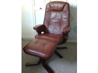 Swivel Recliner Chair and Matching Foot Stool