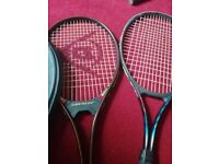 TENNIS RACKET DUNLOP X 1 WITH CASE OTHER NO NAME RACKET BOTH IN EXCELLENT CONDITION NO OFFERS