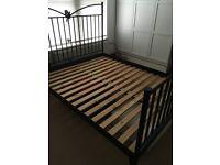Ikea Kingsize Bed Frame (Black, Metal)