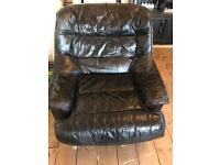 Single soft Black Leather Chair