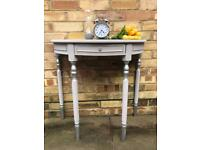 Demi lune half moon console hall table painted in Annie Sloan Paloma