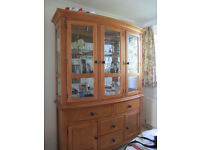 Solid oak display cabinet with matching TV cabinet