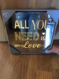 BRAND NEW ALL YOU NEED IS LOVE LED MIRROR PLAQUE