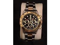 Rolex Daytona watch, 40mm NEW gold & silver (black face)