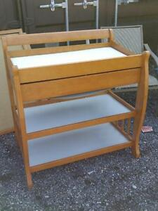 BABY CHANGE TABLE BLONDE WOOD GOOD QUALITY - Excellent condition - OAKVILLE 905 510-8720 -  $80 OBO