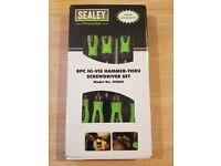 Screwdriver Set 8pc Hammer-Thru Hi-Vis Green