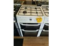 BEKO 60CM GAS DOUBLE OVEN COOKER IN WHITE