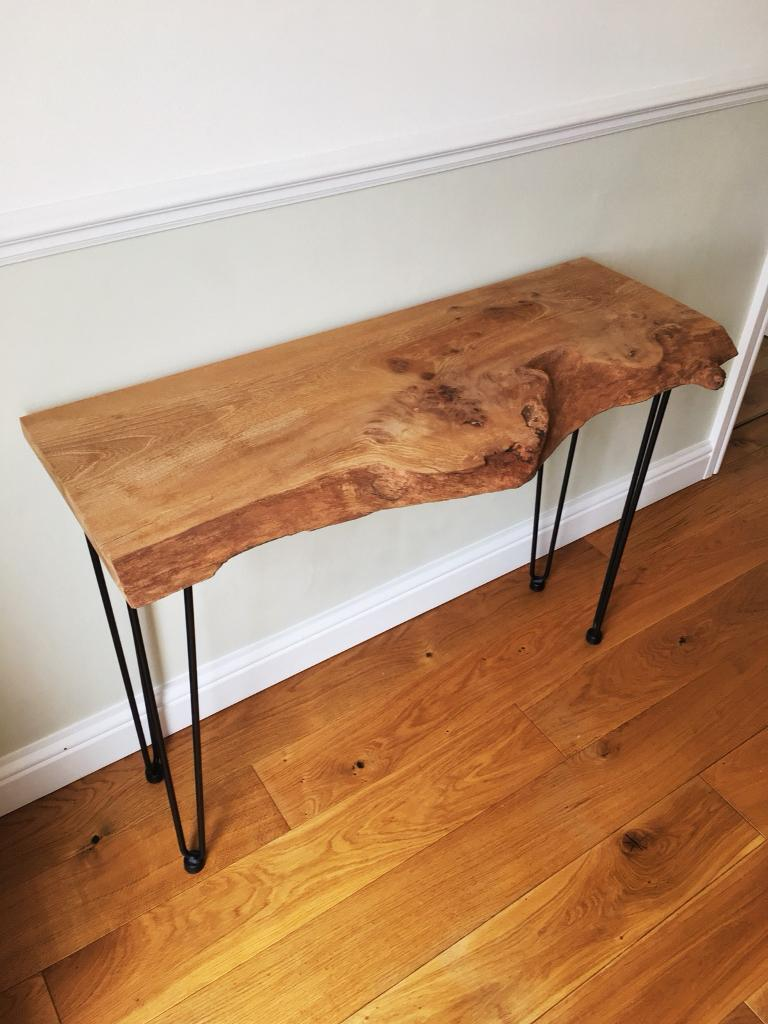 Yew wood modern console table