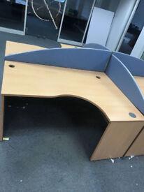 4 X office corner angle desk pod with divider