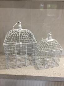 2 Shabby Chic Bird Cages ideal for wedding cards or events