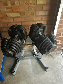 Bowflex 10-90 weights, stand and Bench