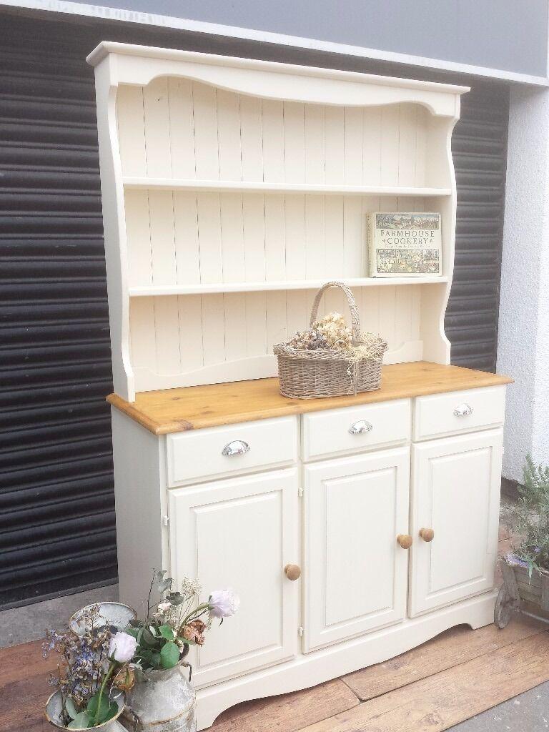 White Kitchen Dresser Unit Solid Pine Dresser Kitchen Unit Welsh Dresser Sideboard Shabby