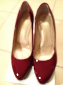 Russell & Bromley Cherry Red Patent Leather platform Court Shoes