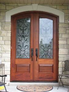 Solid wood exterior front entry doors