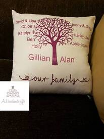 Personalised family tree pillows