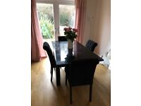 Next black gloss Dinning table and Chairs