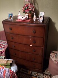 Vintage Wardrobe & matching large chest of draws with dressing table all from 1940's