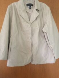 Cream leather jacket size 2xl