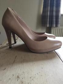 Nude / cream court shoes M&S size 6