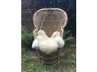 Vintage 70s Peacock Wicker/Rattan Chair