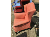 Enchanting Little Dark Pink Upholstered Wing Back Fireside Bedroom Armchair Chair
