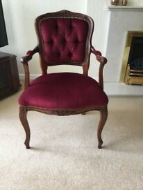 Hall/bedroom occasional chair in wine velvet. Excellent condition. Will sell for £30