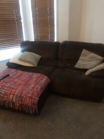 Two 3 seater manual recliner sofas - DFS, one with chaise.