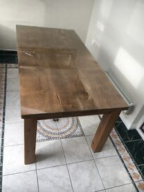 Dining table with glass topper and chairs