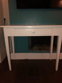 Solid wood dressing table. Scumble Goosie. 76cm h x 92 w x 46 d. Painted white