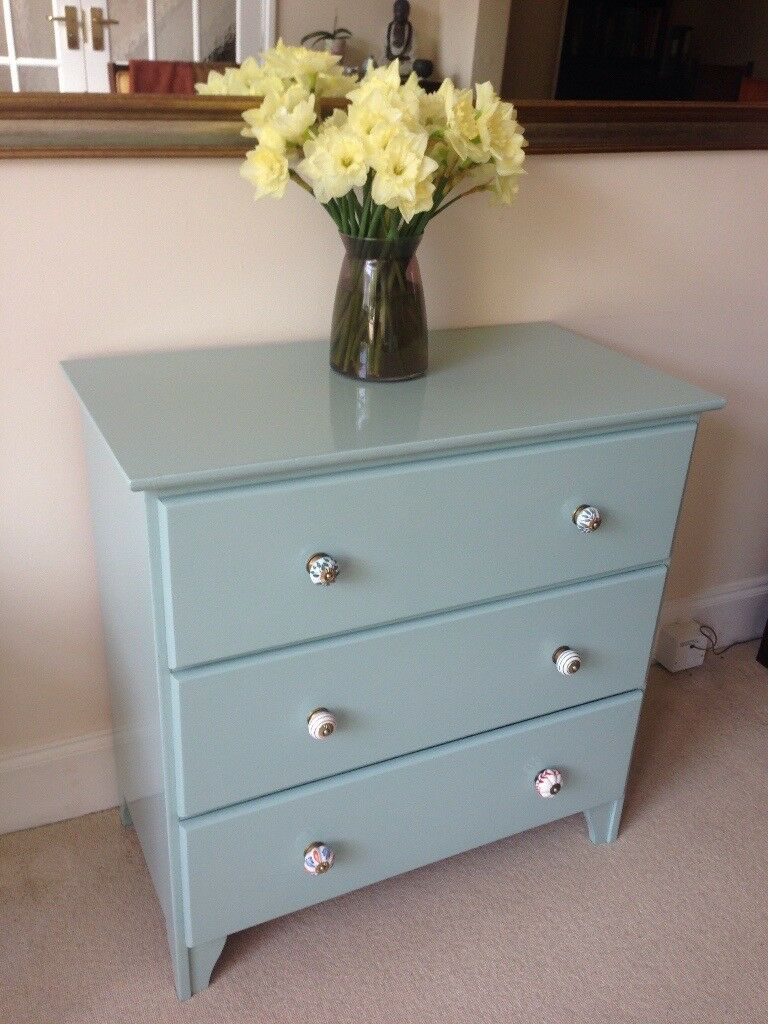Aqua Blue Solid Pine Chest of Drawers with Vintage style Ceramic Handles