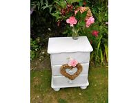 Beautiful shabby chic vintage bedside table / drawers Pine