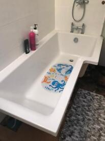 Bath and shower door - white - good condition