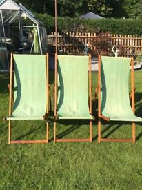 Three vintage deckchairs