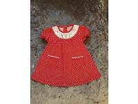 Baby girl Red spotty summer dress, 6-9 Months