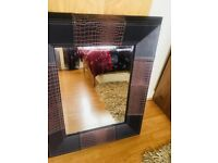 Leather brown mirror frame