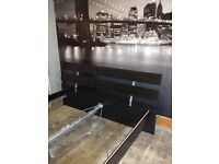 Kingsize bed - Ikea Malm, black wood, good condition, free for uplift
