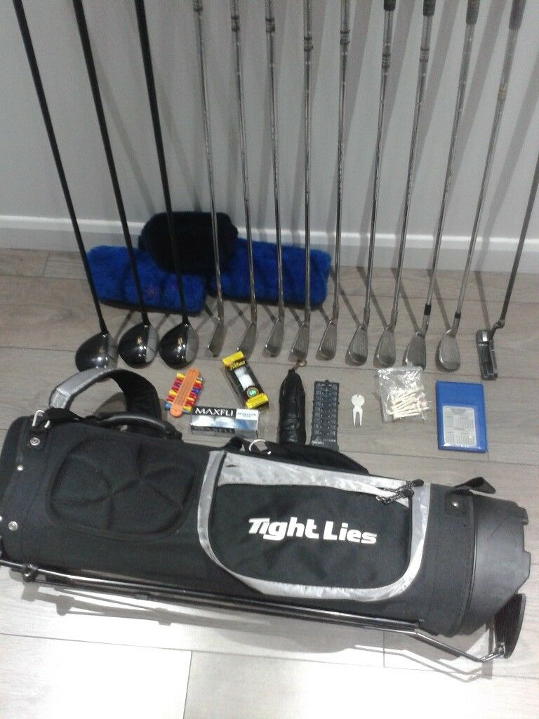 FULL SET GOLF CLUBS + GOLF BAG WITH STAND + TITLEIST & MAXFLI GOLF BALLS + NIKE GLOVE + LOADS EXTRA