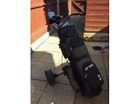 Gents right handed golf clubs, bag and trolley