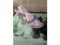Silver toe post sandals size 4