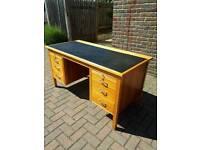 Vintage Teak Effect Pedestal Desk Office Desk