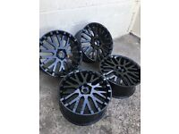 "GENUINE RANGE ROVER PROJECT KAHN 22"" ALLOY WHEELS PROFESSIONALLY REFURBISHED IN HIGH GLOSS BLACK"