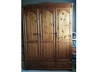 Triple Pine Wardrobe with 2 drawers -USED