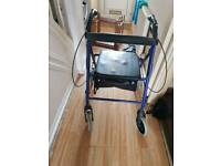 Disability walker with seat and storage