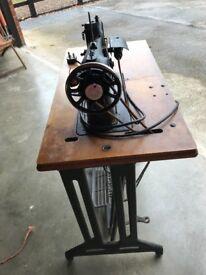 Vintage Singer Sewing Machine and Original Base